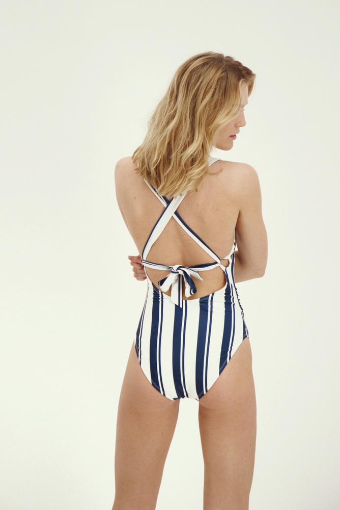 Joy Swimsuit Navy/White Stripe