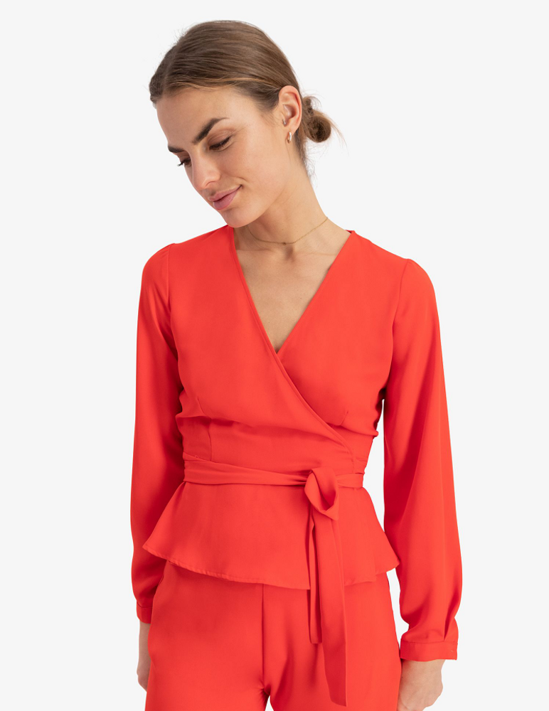 Luck Wrap Top Bright Red