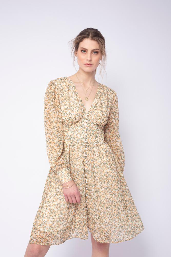 Ella Short Dress Yellow Meadow