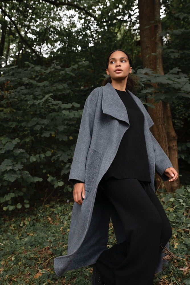 Lana Coat  Navy Melange
