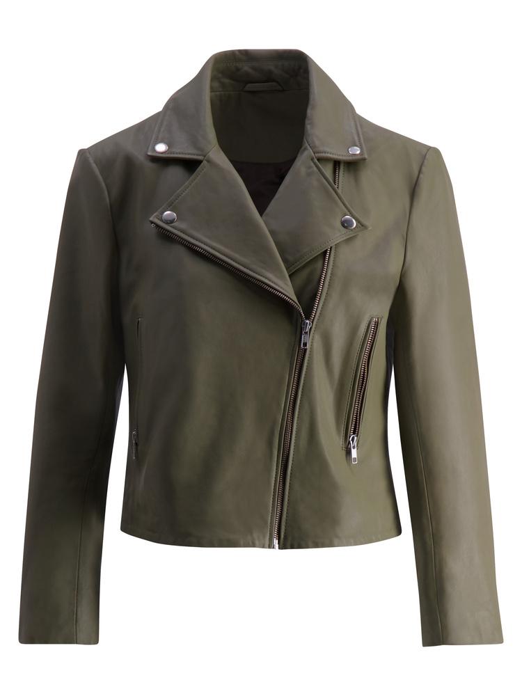 Kendra Leather Jacket Army