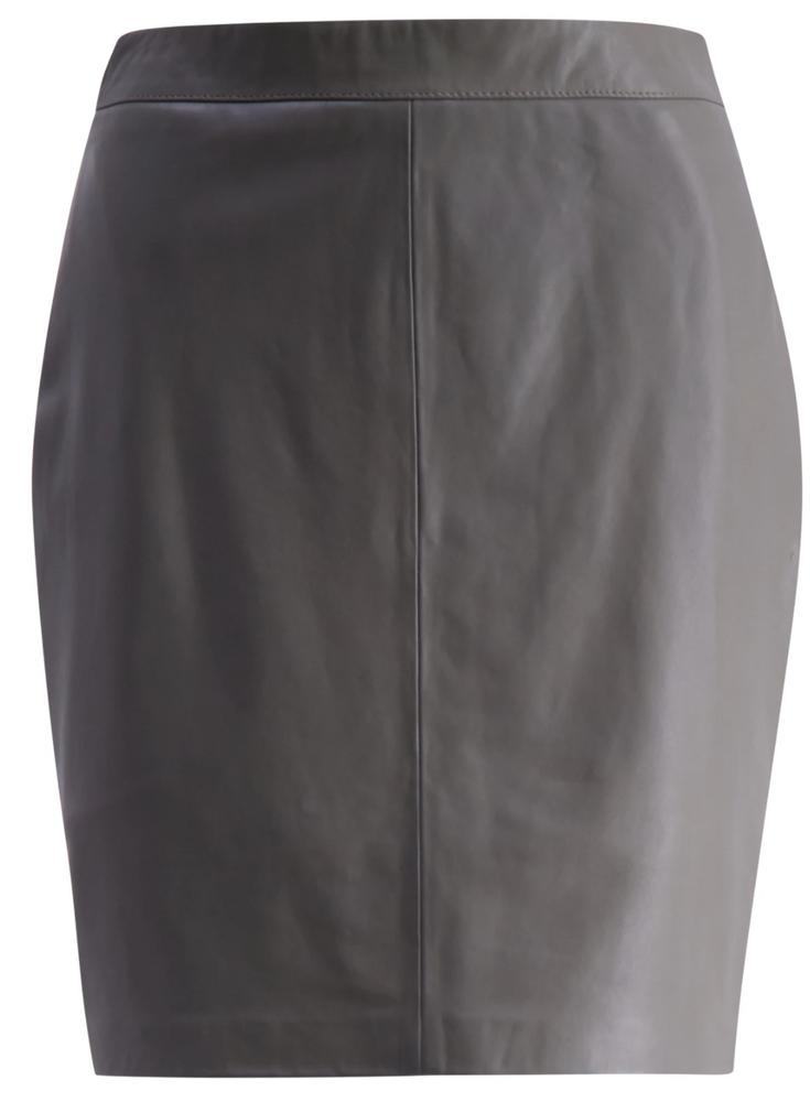 Savanna Leather Skirt Taupe